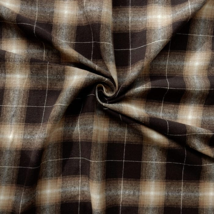 Flannel Yarn Dyed Plaid Fabric Rex Brown, by the yard