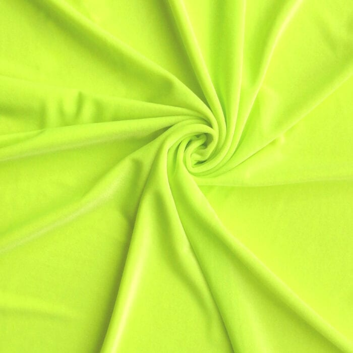 Medici Stretch Velvet Fabric Neon Yellow, by the yard