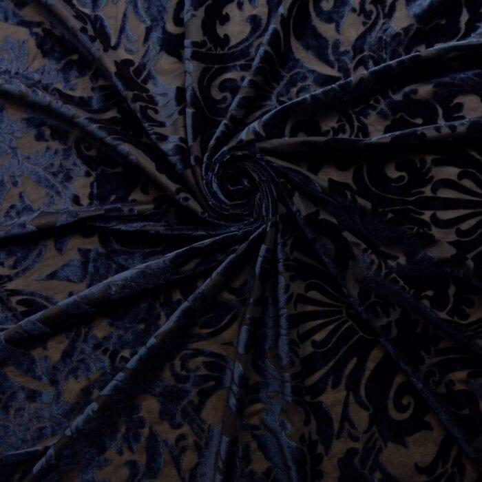 Stretch Burnout Velvet Fabric Navy, by the yard