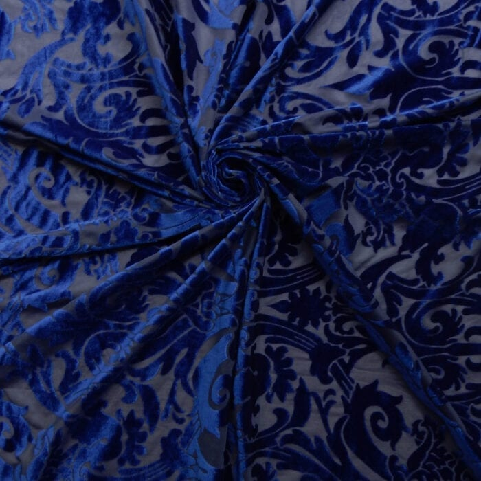 Stretch Burnout Velvet Fabric Royal, by the yard