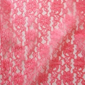 60″ Floral Lace Fabric Coral, by the yard