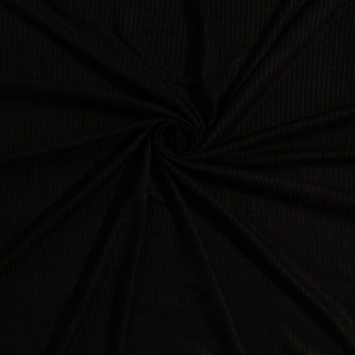 SALE Stretch Rayon 4×2 Rib Jersey 834 Black, by the yard