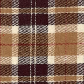 Flannel Yarn Dyed Plaid Fabric Bobs Brown, by the yard