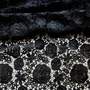 Rose Venice Lace Fabric Black 15 yard bolt