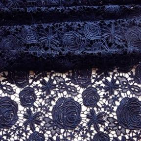 Rose Venice Lace Fabric Navy Blue 15 yard bolt