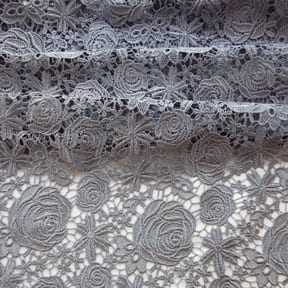 Rose Venice Lace Fabric Sterling Silver 15 yard bolt