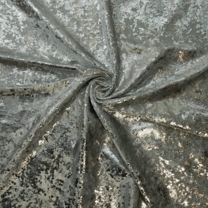 SALE Gilded Metallic Foil on Stretch Velvet Fabric 2093 Silver by the yard