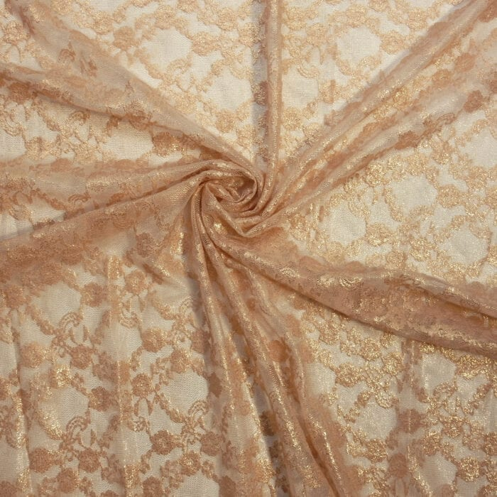 SALE Stretch Foil Lace Fabric 2319 Peach/Gold, by the yard