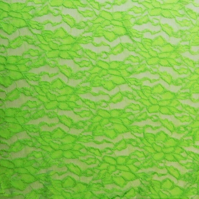 SALE Stretch Floral Lace Fabric 2328 Neon Green, by the yard