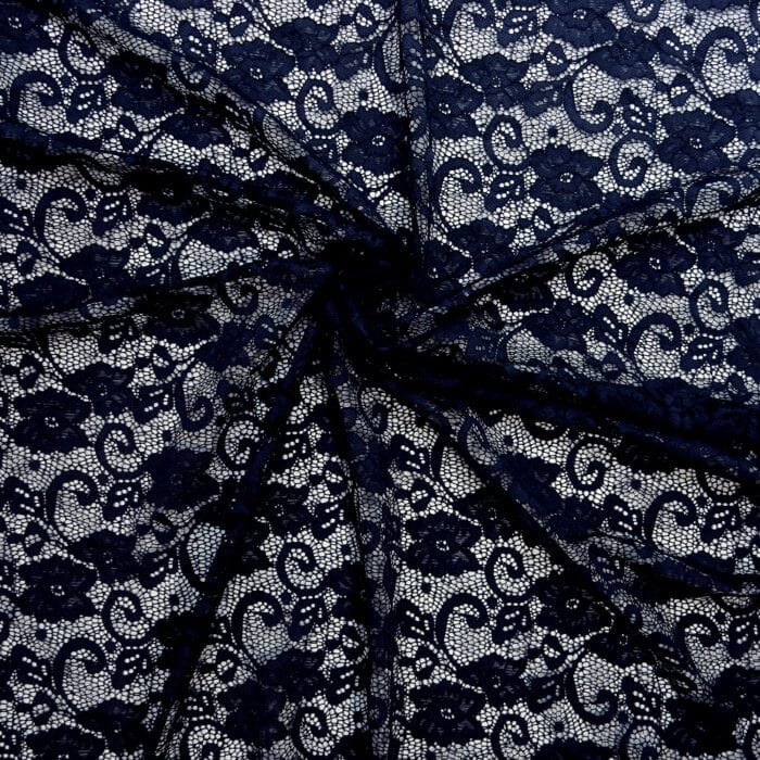 SALE Stretch Floral Lace Fabric 2331 Navy, by the yard