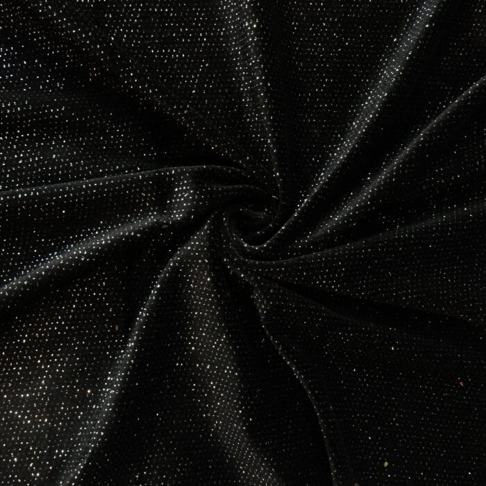 SALE Sparkle Velour Fabric 2626 Black/Silver, by the yard