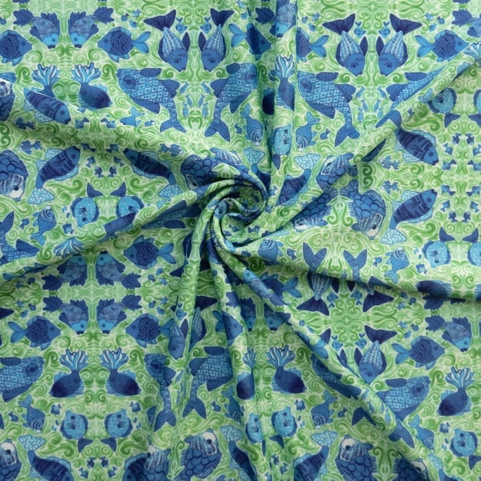 SALE Fish Knit Print 2525 Ocean Blue, by the yard