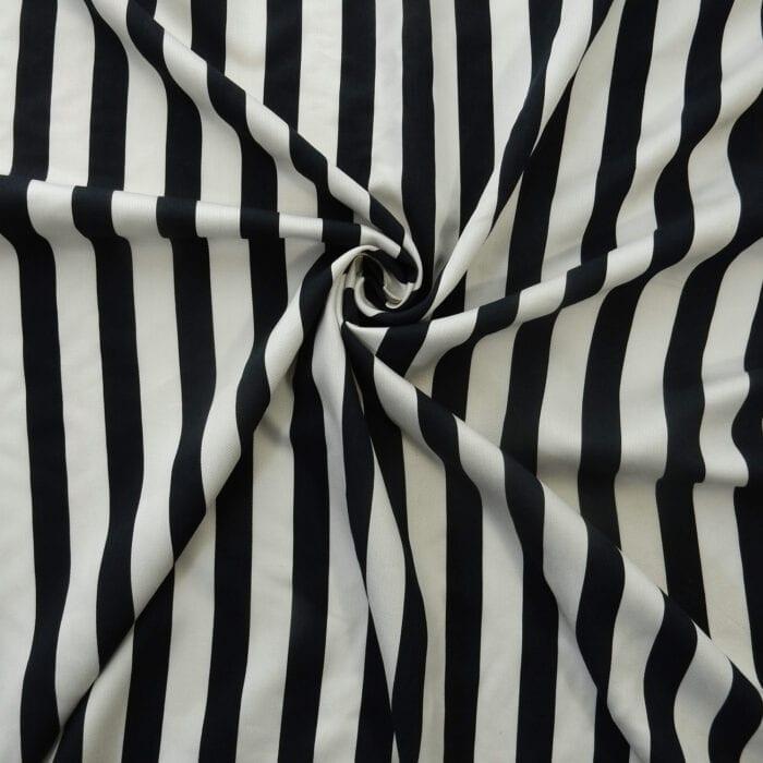 2.375 Yards Elie Tahari Fabric Stripe Viscose Twill White/Navy1130