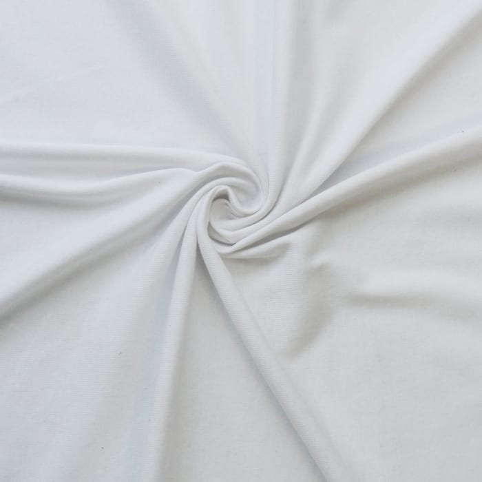 SALE Ribbed T-Shirt Jersey Fabric White 2616, by the yard
