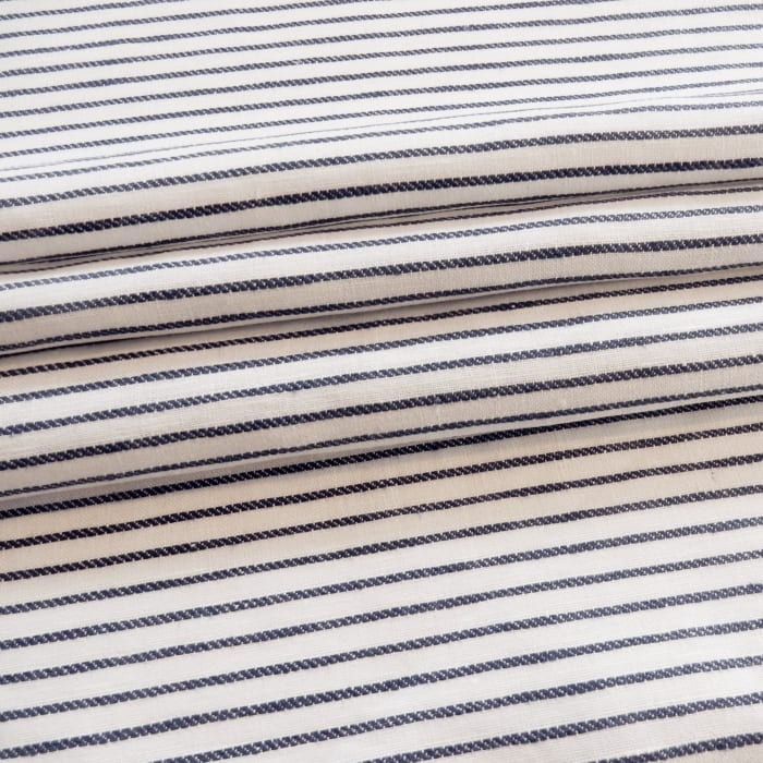 100% French Linen Stripe Fabric Cassis Indigo, by the yard